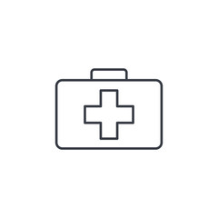 medicine chest thin line icon. Linear vector illustration. Pictogram isolated on white background