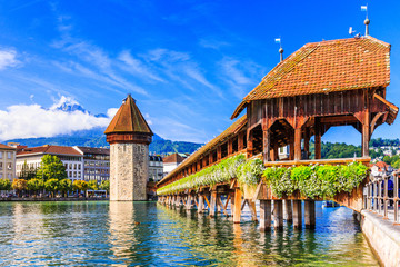 Lucerne, Switzerland. Chapel bridge. Wall mural