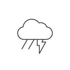 Lightning, thunder storm, rain and cloud thin line icon. Linear vector illustration. Pictogram isolated on white background