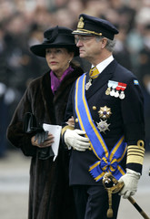King Carl Gustaf and Queen Silvia of Sweden arrive for the funeral service of Dutch Prince ...