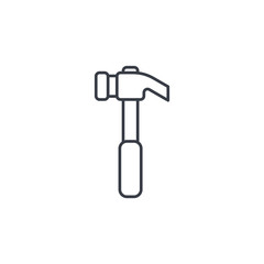 Hammer thin line icon. Linear vector illustration. Pictogram isolated on white background