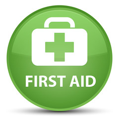 First aid special soft green round button