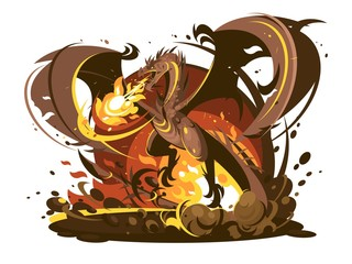 Fire breathing dragon character