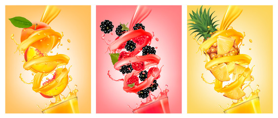Set of labels of of fruit in juice splashes. Peach, strawberry, blackberry, pineapple. Vector.
