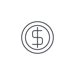 coin dollar, money, finance, currency thin line icon. Linear vector illustration. Pictogram isolated on white background