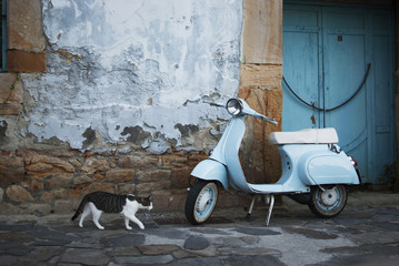 Photo Blinds Scooter Vespa azul