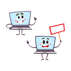 vector flat cartoon funny laptop humanized male characters with arms, legs and face showing thumbs up, holding blank placard in hand smiling set. Isolated illustration on a white background.