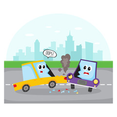 Road accident, side collision on city street with car characters, cartoon vector illustration. Two cartoon car characters with human faces have road accident, collision on city street