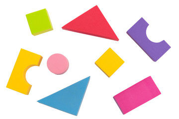 Kid toy geometry top view isolated on white background, kid or child development concept