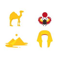 Set of Egypt symbols - pharaoh headdress, camel, pyramids, scarab beetle, flat cartoon vector illustration isolated on white background. Set of Egyptian symbols - scarab, pyramids, crown and camel