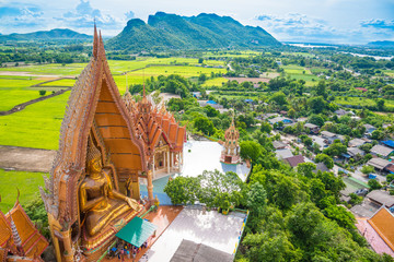 Wat tham sua, thailand temple landscape landmark in kanchanaburi, thailand travel concept background. Wat tham sua or tiger cave temple is the famous tourist attraction in kanchanaburi, thailand.