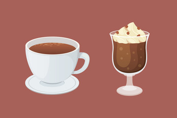 Coffee and sweet dessert isolated vector illustration.