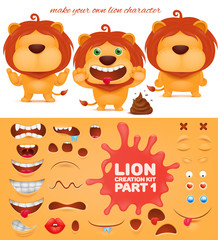 Creation kit of emoticon cartoon lion character