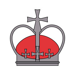 royal crown with crosses icon image vector illustration design