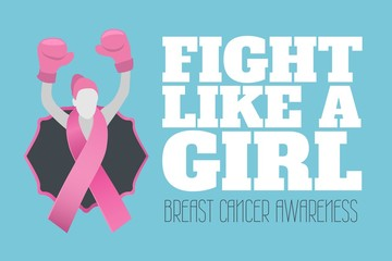 Fight like a girl text and breast cancer awareness concept