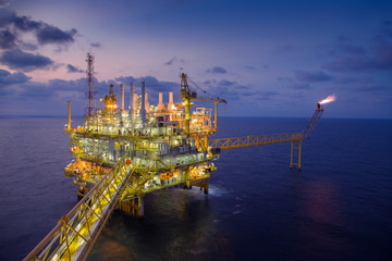 Offshore oil and gas central processing platform produced gas and crude then sent to onshore refinery.