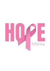 Hope text with pink ribbon and breast cancer awareness concept