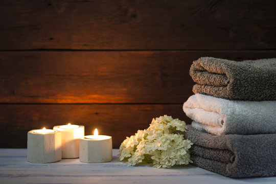 Beautiful image of bath towels in the spa. Photographed under natural light