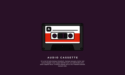Cassette Tape (Line Art Vector Illustration in Flat Style Design)