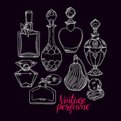 womens sketch perfume bottles