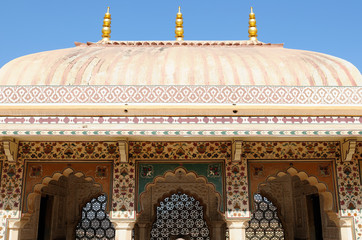 Foto auf Leinwand Befestigung Indian wonderful examples of architecture - Amber Fort - details.