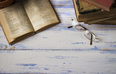 beautiful image of an open book on a wooden table