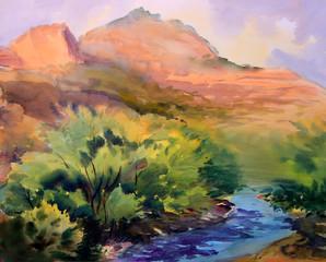 Watercolor painting landscape of Cote d'Azur area, France.