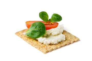 Spoed Foto op Canvas Voorgerecht Antipasto con crackers, crema di soia e verdure