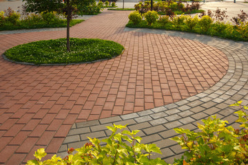 paved with tiles path in the Park Wall mural