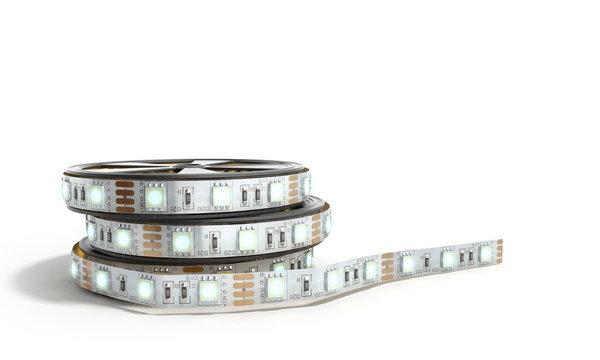 Diode strip Led lights tape in holder close-up 3d render on white
