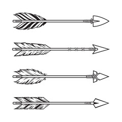 Set of tribal style arrows, ethnic, boho design elements