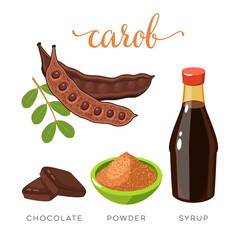Superfood fruit. Set of carob pod bean with seeds, choko tile, carob powder and syrup. Vector illustration cartoon flat icon isolated on white.