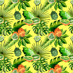 Tropical Hawaii leaves palm tree and kiwano pattern in a watercolor style. Aquarelle wild flower for background, texture, wrapper pattern, frame or border.