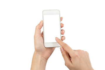 Hand young woman holding mobile smart phone with blank screen isolated on white background with clipping path