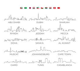 Arabian Peninsula and Africa skyline city line art, vector Illustration design
