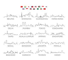 Asia skyline city line art, vector Illustration design