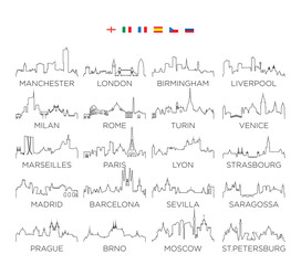 Europe skyline city line art, vector Illustration design, set 2