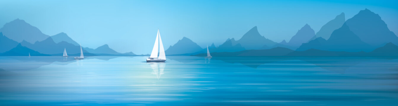 Vector blue sea, sky  background and yachts.