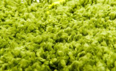 Close up of green yarn carpet
