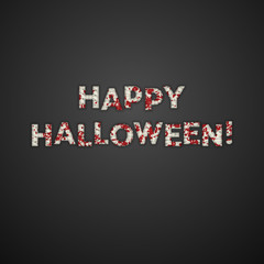 Happy Halloween Greeting Card. Mummy Bandage Font With Blood. Vector.