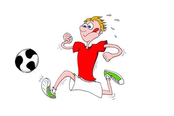 Child running to play soccer with his tongue out