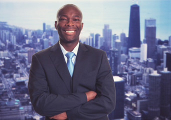 Successful african american businessman with skyline
