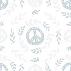 International peace day delicate seamless pattern with peace signs