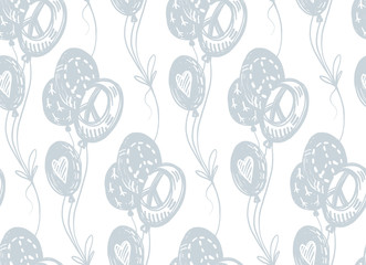 International peace day delicate hand drawn seamless pattern with blue flying balloons