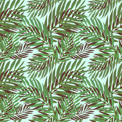 Foto op Plexiglas Tropische Bladeren Tropical palm leaves pattern. Trendy print design with abstract jungle foliage. Exotic seamless background. Vector illustration