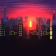 Urban City Nightscape - Vector Illustration