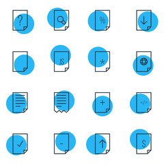 Vector Illustration Of 16 Page Icons. Editable Pack Of HTML, File, Question And Other Elements.