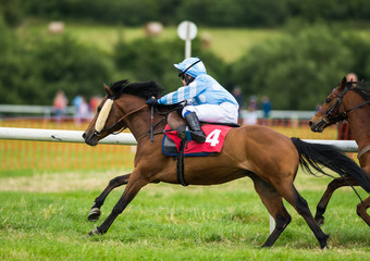 Young jockey and pony galloping on a race track