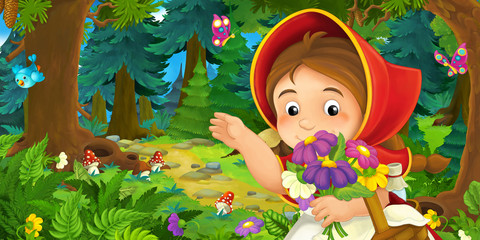 cartoon scene with young girl walking through the forest - illustration for children