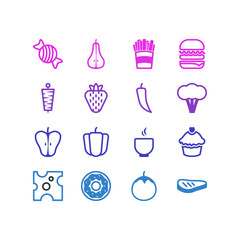 Vector Illustration Of 16 Food Icons. Editable Pack Of Berry, Cake , Sandwich Elements.